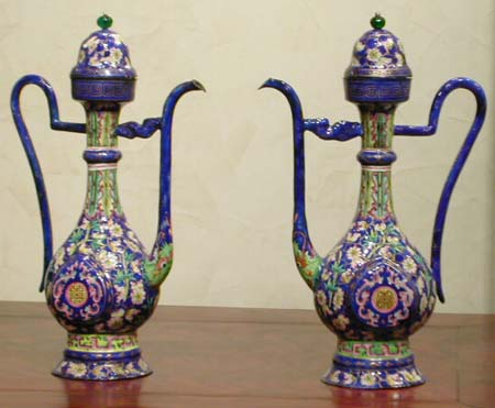 pair of canton enameled ewers - Pair of Canton enameled ewers - XIXth century - files